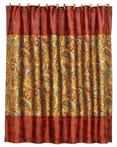 "(HXWS4287SC) ""San Angelo"" Western Paisley Shower Curtain"