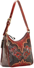 "Load image into Gallery viewer, (AW9150629) ""Annie's Secret - Crimson & Chocolate"" Western Leather Shoulder Bag by American West"