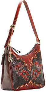 "(AW9150629) ""Annie's Secret - Crimson & Chocolate"" Western Leather Shoulder Bag by American West"