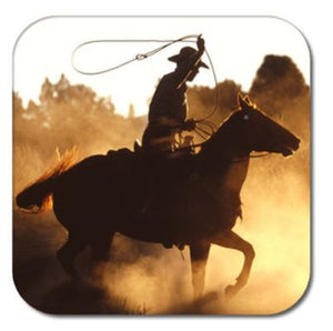 "(THS-JCCST) ""Roping Cowboy"" Coasters - Set of 6"