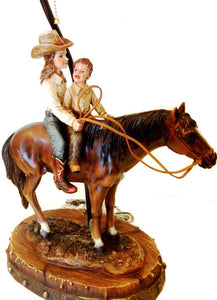(RWRA1368) Cowgirl & Brother Western Table Lamp