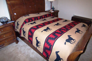 (EP7008-F) Horse Bedspread Red