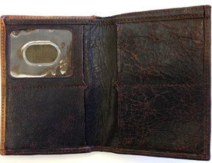 (3DB-WJB151) Western Dark Brown & Hair-On Bi-Fold Wallet by Justin