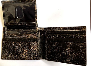 (3DB-WJW085) Justin Black Crackled B-Fold Wallet