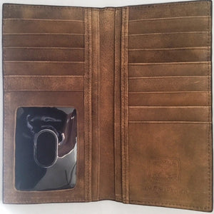 (WFAXRC-15) Twisted-X Medium Brown Distressed Rodeo Wallet with Skull