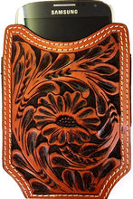 Load image into Gallery viewer, (WFAXWPC3-1) Twisted-X Western Floral Tooled Leather Open-Top Cell Phone Case