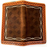 (3DB-W253) Western Brown Fancy Stitch Woven Rodeo Wallet