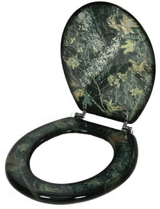 (RE744) Camouflage Wood Standard Toilet Seat