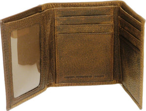 (WFAC822T) Western Leather Tri-Fold Wallet with Hair-On Cross