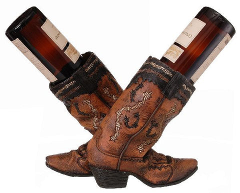 (JT-87-1029) Western Double Cowboy Boots Wine Holder