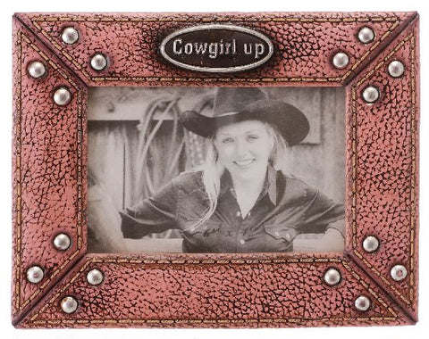 "(JT-87-1035) ""Cowgirl Up"" Photo Frame for 4"" x 6"""