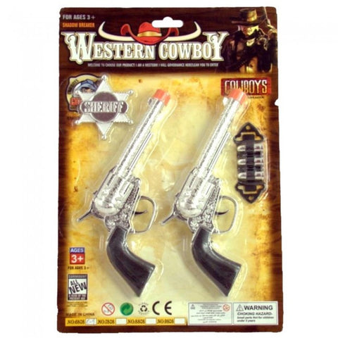 (JT-87-1561) Kids Western Cowboy Double Pistol Set with Sheriff Badge