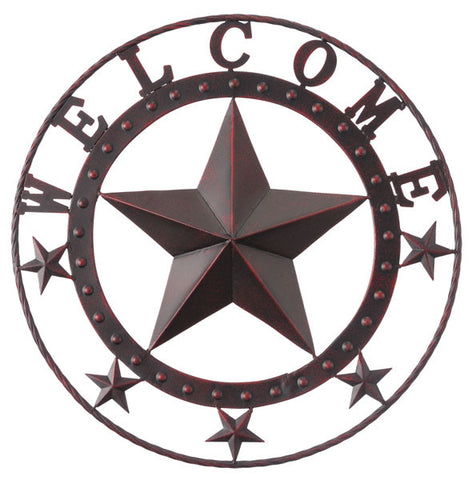 "(JT-87-1907) ""Welcome"" Metal Star Wall Hanging - 18-1/2"" Diameter"