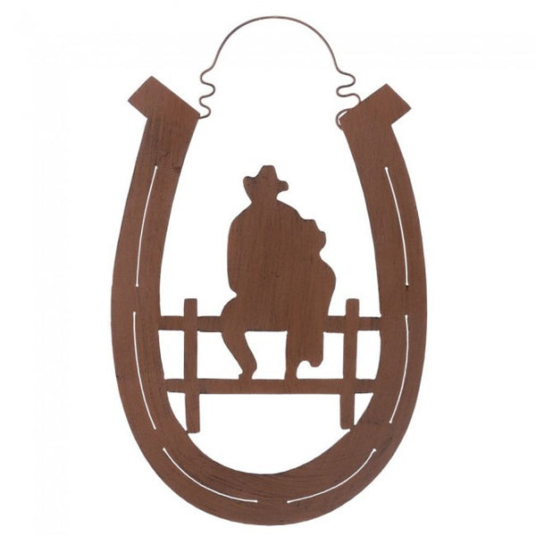 "(JT-87-3439) ""Father & Son"" Western Horseshoe Metal Wall Art"