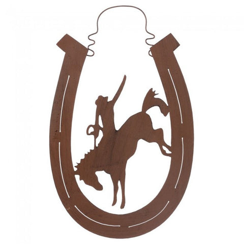 (JT-87-3440) Bronc Rider Hanging Horseshoe Metal Art