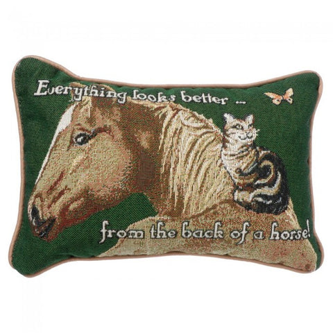"(JT-87-3620-0-D1) ""Everything Looks Better From the Back of a Horse"" Accent Pillow"