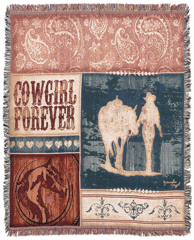 "(JT-87-3621A) ""Cowgirl Forever"" Cotton Throw"
