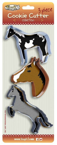 (JT-87-9103-450) Western Horse Cookie Cutter Set of 3