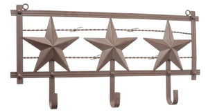 (JT-87-93143) Western Stars & Barbwire Metal Coat Rack