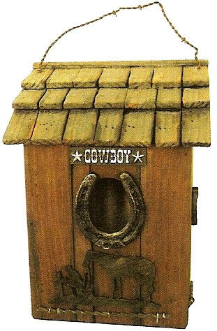 "(JT-87-93219) Praying Cowboy Birdhouse 11"" Tall"