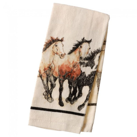 (JT-87-97101) Running Horses Western Terry Towel