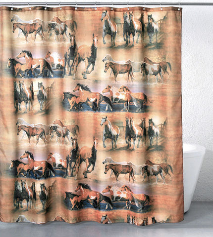 "(JT-T87-6080-4) ""Coming Home"" Horses Shower Curtain"