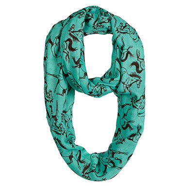 Western Turquoise with Brown Horses Infinity Scarf