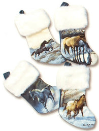 "(KCG592) ""Stornaments"" Ornament Sized Horse-Themed Christmas Stockings (Set of 4)"