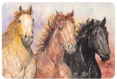 "(KD-R5214) ""3 Horses"" Western Laminated Placemat"