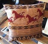 "(KDI-AF)  ""Appaloosa Fence"" Western Accent Pillow - 14"" x 14"""