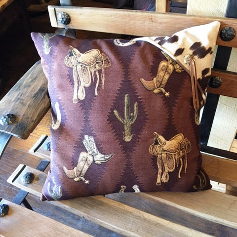 (KDI-BS) Western Accent Pillow - Boots, Saddles, Cactus, Horseshoes