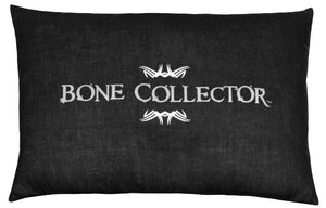 "(KMBCBK141P) ""Bone Collector"" Black Oblong Decorative Pillow"