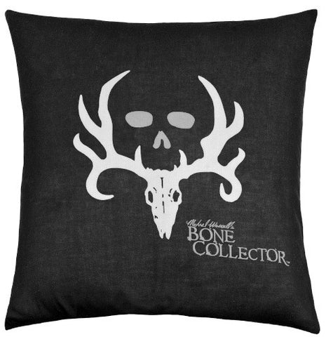 "(KMBCBK144P) ""Bone Collector"" Black Square Decorative Pillow"