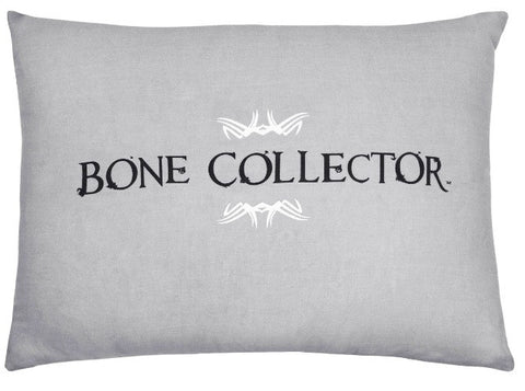 "(KMBCBK241P) ""Bone Collector"" Grey Oblong Decorative Pillow"