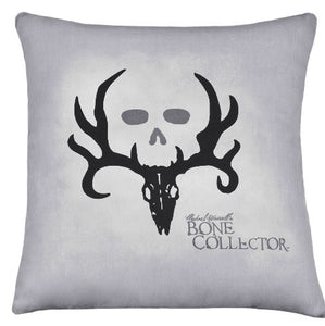 "(KMBCBK244P) ""Bone Collector"" Grey Square Decorative Pillow"