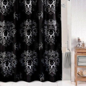 "(KMBCBKSC) ""Bone Collector Black"" Shower Curtain"