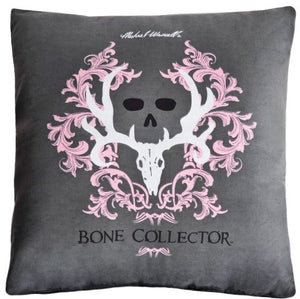 "(KMBCPK144P) ""Bone Collector"" Grey Square Decorative Pillow"