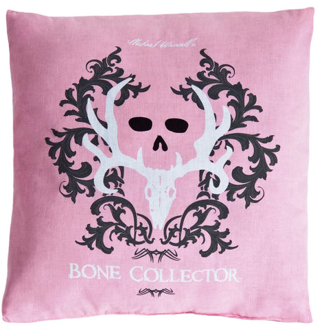 "(KMBCPK244P) ""Bone Collector"" Pink Square Decorative Pillow"