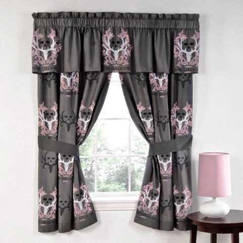 "(KMBCPKC) ""Bone Collector Pink"" Curtains & Valance"