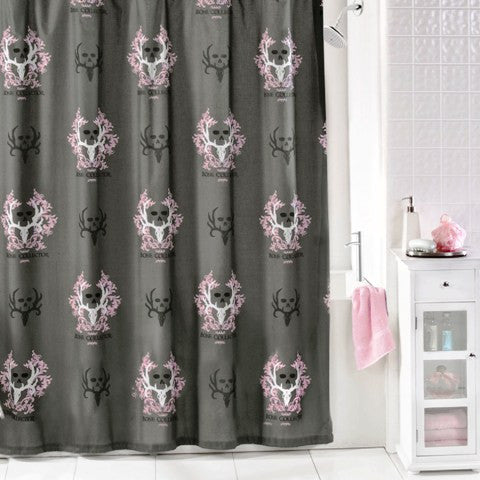 "(KMBCPKSC) ""Bone Collector Pink"" Shower Curtain"