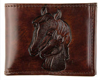 Horse Head Brown Leather Billfold (Made In The USA)