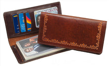 Load image into Gallery viewer, Antique Brown Leather Checkbook Wallet (Made In The USA)