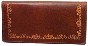 Antique Brown Leather Checkbook Wallet (Made In The USA)