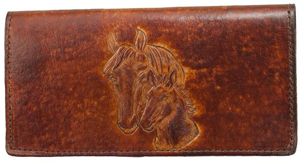 Antique Brown Leather Mare & Foal Checkbook Wallet (Made In The USA)