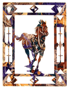 "(LZESCP20W) ""Escape"" Running Horse Laser-Cut Metal Wall Art"