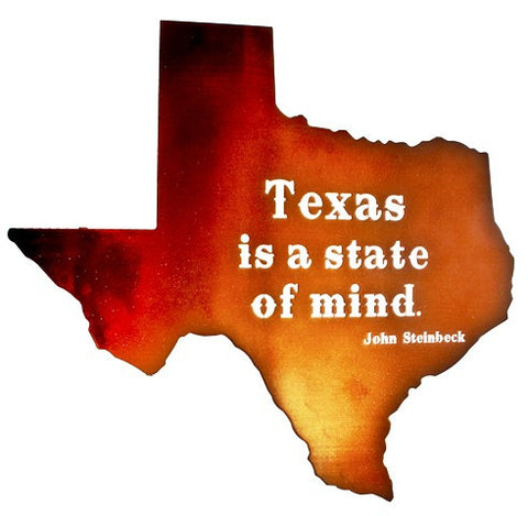 "(LZTXSM24WSC) ""Texas is a State of Mind"" Western Laser-Cut Metal Wall Art"