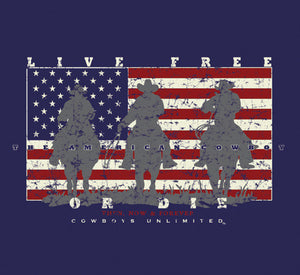 "(MBCB1550) ""Live Free or Die"" Cowboys Unlimited T-Shirt"