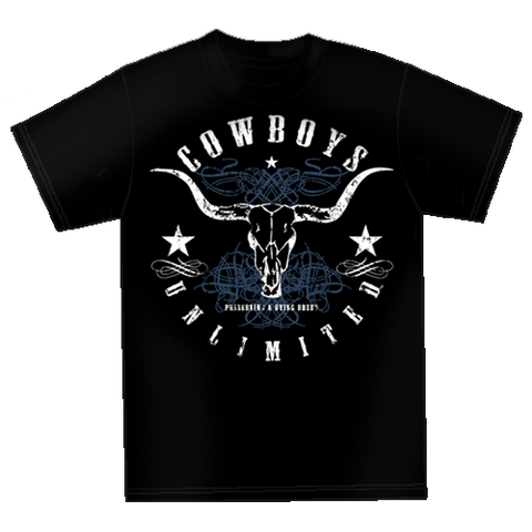 "(MBCB1558) ""Blue Skull"" Cowboys Unlimited  T-Shirt"