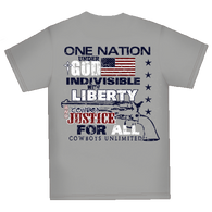 "(MBCB1567) ""One Nation Under God"" Cowboys Unlimited T-Shirt"