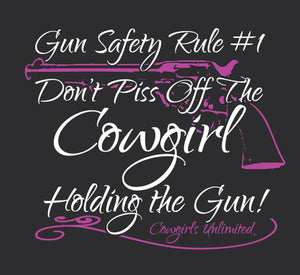"(MBCG1193) ""Gun Safety Rule"" Cowgirls Unlimited Adult T-Shirt"